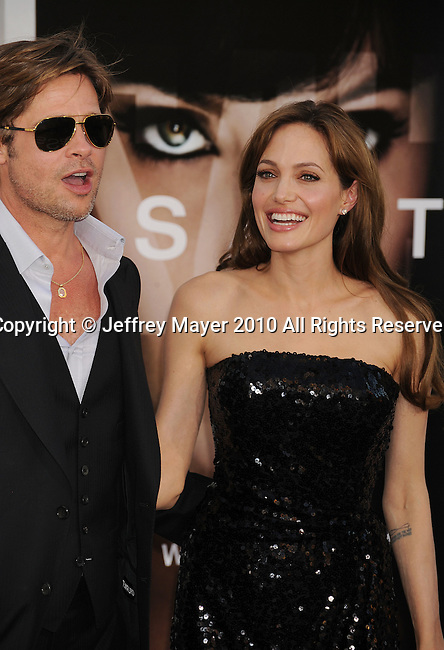 "LOS ANGELES, CA. - July 19: Brad Pitt and Angelina Jolie arrive at the ""Salt"" Los Angeles Premiere at Grauman's Chinese Theatre on July 19, 2010 in Hollywood, California."