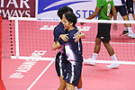 (L-R) Hirokazu Kobayashi, Yuki Sato (JPN), <br /> AUGUST 23, 2018 - Sepak takroae : <br /> Men's Doubles Preliminary match between Indonesia - Japan <br /> at Jakabaring Sport Center Ranau Hall <br /> during the 2018 Jakarta Palembang Asian Games <br /> in Palembang, Indonesia. <br /> (Photo by Yohei Osada/AFLO SPORT)