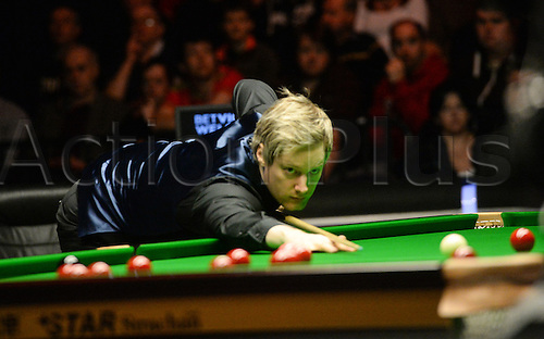 19.02.2016. Cardiff Arena, Cardiff, Wales. Bet Victor Welsh Open Snooker. Neil Robertson versus Ding Junhui. Neil Robertson takes a shot.