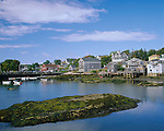 Hancock County, ME<br /> Wharfs and houses above the harbor at Stonington, Deer Island