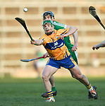 Podge Collins of  Clare  in action against  Limerick during their NHL quarter final at the Gaelic Grounds. Photograph by John Kelly.