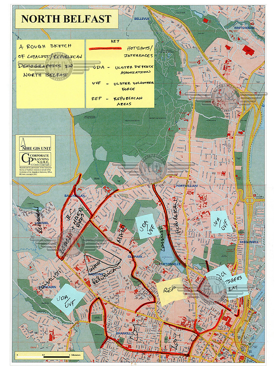 A map of north Belfast with annotations marking the religious and paramilitary division.