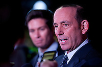 MLS commissioner Don Garber talks to the media during the MLS SuperDraft at the Pennsylvania Convention Center in Philadelphia, PA, on January 16, 2014.