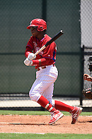 GCL Phillies first baseman Luis Encarnacion (22) at bat during a game against the GCL Pirates on June 26, 2014 at the Carpenter Complex in Clearwater, Florida.  GCL Phillies defeated the GCL Pirates 6-2.  (Mike Janes/Four Seam Images)