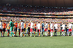 14 JUN 2010:  Denmark and the Netherlands teams shake hands during team introductions.  The Netherlands National Team played the Denmark National Team at Soccer City Stadium in Johannesburg, South Africa in a 2010 FIFA World Cup Group E match.