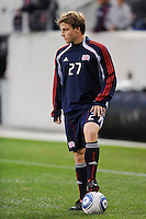 Seth Sinovic (27) of the New England Revolution. The New York Red Bulls defeated the New England Revolution 3-0 during a U. S. Open Cup qualifier round match at Red Bull Arena in Harrison, NJ, on May 12, 2010.