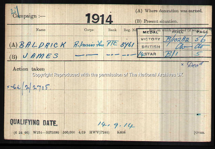 BNPS.co.uk (01202 558833)<br /> Pic: FWR/BNPS<br /> <br /> Medal card for a Pte James Baldrick.<br /> <br /> Blackadder &amp; Co. Really Did Go Forth in World War 1 - Forces War Records has the proof.<br /> <br /> The names of Blackadder, Darling, Lieutenant George and Baldrick will be familiar to people nationwide thanks to the BBC&rsquo;s Blackadder series.  But they may be surprised to learn that the characters, originally invented by Richard Curtis and Rowan Atkinson, really did exist.  Specialist military genealogy website Forces War Records has the proof.  To mark the centenary of the Great War, Forces War Records has delved back into its six million military records to track down the real life counterparts of the characters made famous in Blackadder Goes Forth.The hugely popular Blackadder series ran from 1983-1989, ending its run in the trenches of World War I, where the exploits of Captain Blackadder, Private Baldrick, Captain Darling and Lieutenant George culminated in the characters going over the top for &lsquo;one last hurrah&rsquo;.