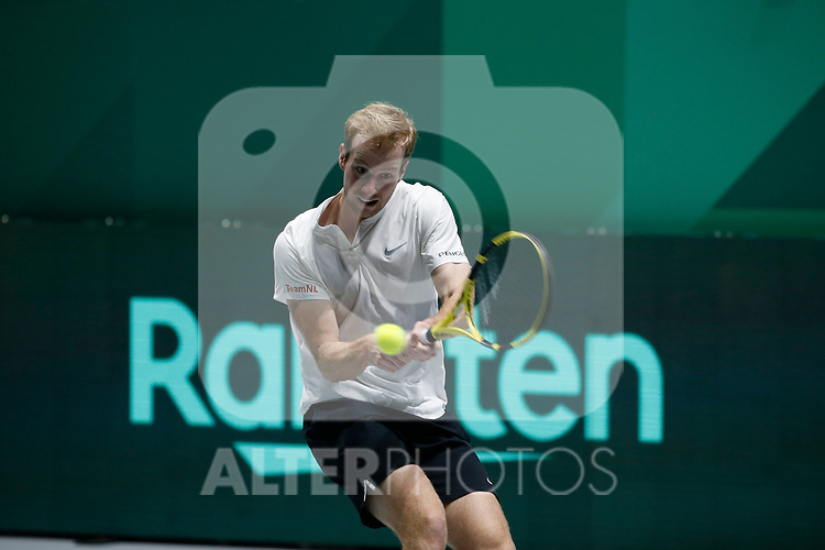 Botic Van de Zandschulp of Netherlands plays a backhand against Botic Van de Zandschulp of Netherlands during Day 2 of the 2019 Davis Cup at La Caja Magica on November 19, 2019 in Madrid, Spain. (ALTERPHOTOS/Manu R.B.)