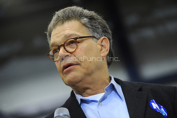PORTSMOUTH, NH - FEBRUARY 6: U.S. Sen. Al Franken (D-MN) (C) speaks as Hillary Clinton, former Secretary of State and 2016 Democratic presidential candidate, holds a campaign event in Portsmouth, New Hampshire on February 6, 2016. Credit: Dennis Van Tine/MediaPunch