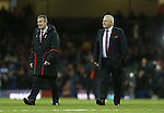 Wales coaches Rob Howley & Warren Gatland.<br /> RBS 6 Nations 2014<br /> Wales v Italy<br /> Millennium Stadium<br /> 01.02.14<br /> <br /> ©Steve Pope-SPORTINGWALES