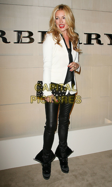 "Cat Deeley.""Burberry Body"" Burberry Fragrance Launch Party held at Burberry Beverly Hills, Los Angeles, California, USA..26th October 2011.full length white top blazer scarf black pussybow leather trousers boots.CAP/ADM.©AdMedia/Capital Pictures."