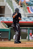 Umpire Ben Fernandez calls a strike during a Florida State League game between the Jupiter Hammerheads and Florida Fire Frogs on April 11, 2019 at Osceola County Stadium in Kissimmee, Florida.  Jupiter defeated Florida 2-0.  (Mike Janes/Four Seam Images)