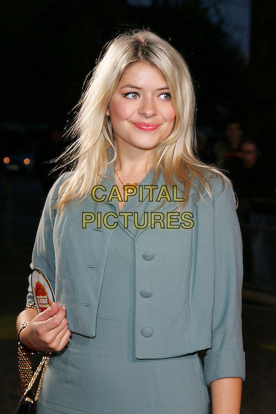 """HOLLY WILLOUGHBY.Celebrity Guests attend """"Another Audience with Al Murray - Pub Landlord"""" at London ITV Studios, South Bank, London, England, October 21st 2007..half length grey jacket.CAP/ROS.©Steve Ross/Capital Pictures"""