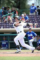 Taylor Ward (7) of the Inland Empire 66ers bats against the Rancho Cucamonga Quakes at San Manuel Stadium on April 27, 2016 in San Bernardino, California. Rancho Cucamonga defeated Inland Empire, 2-1. (Larry Goren/Four Seam Images)