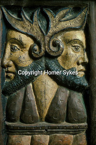 Janiform Heads. Sancreed Church, Cornwall, England.  Rood screen carving.  <br />