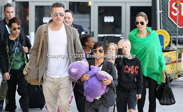 Pictured: Brad Pitt, Angelina Jolie, Shiloh Nouvel Jolie-Pitt, Maddox Chivan Jolie-Pitt, Pax Thien Jolie-Pitt, Knox Leon Jolie-Pitt, Zahara Marley Jolie-Pitt, Vivienne Marcheline Jolie-Pitt<br /> Mandatory Credit &copy; Ben Foster/Broadimage<br /> Brad Pitt, Angelina Jolie and family arriving at the Los Angeles International Airport<br /> <br /> 2/5/14, Los Angeles, California, United States of America<br /> <br /> Broadimage Newswire<br /> Los Angeles 1+  (310) 301-1027<br /> New York      1+  (646) 827-9134<br /> sales@broadimage.com<br /> http://www.broadimage.com<br /> <br /> <br /> Pictured: Brad Pitt, Angelina Jolie, Shiloh Nouvel Jolie-Pitt, Maddox Chivan Jolie-Pitt, Pax Thien Jolie-Pitt, Knox Leon Jolie-Pitt, Zahara Marley Jolie-Pitt, Vivienne Marcheline Jolie-Pitt<br /> Mandatory Credit &copy; Ben Foster/Broadimage<br /> Brad Pitt, Angelina Jolie and family arriving at the Los Angeles International Airport<br /> <br /> 2/5/14, Los Angeles, California, United States of America<br /> Reference: 020514_HDLA_BDG_013<br /> <br /> Broadimage Newswire<br /> Los Angeles 1+  (310) 301-1027<br /> New York      1+  (646) 827-9134<br /> sales@broadimage.com<br /> http://www.broadimage.com