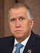 United States Senator Thom Tillis (Republican of North Carolina) during the US Senate Committee on Banking, Housing, and Urban Affairs confirmation hearing on the nomination of Dr. Benjamin Carson to be Secretary of Housing and Urban Development (HUD) on Capitol Hill in Washington, DC on Thursday, January 12, 2017.<br /> Credit: Ron Sachs / CNP