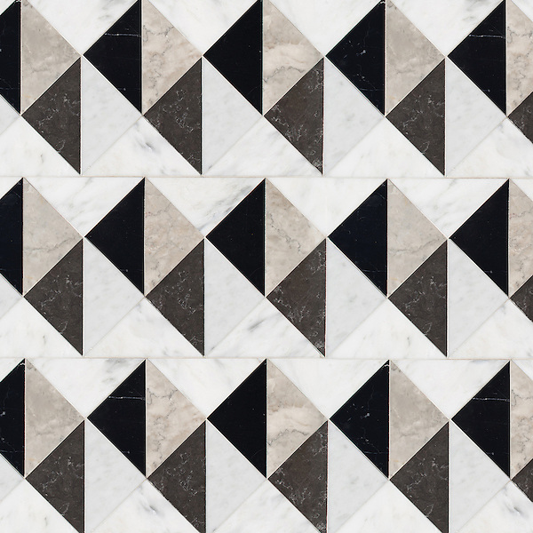 Arubus, a hand-cut stone mosaic, shown in polished Soccoro Grey, Nero Marquina, Carrara, and honed Cavern.