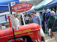 One of the tractors that could be won by spectators rests in a walkway during A Day at Del Val University Saturday April 23, 2016 in Doylestown, Pennsylvania. (Photo by William Thomas Cain)