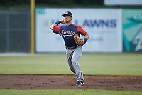 Hagerstown Suns shortstop Jackson Cluff (10) makes a throw to first base against the Kannapolis Intimidators at Kannapolis Intimidators Stadium on August 27, 2019 in Kannapolis, North Carolina. The Intimidators defeated the Suns 5-4. (Brian Westerholt/Four Seam Images)