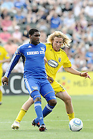 Craig Rocastle (blue), Steven Lenhart...Kansas City Wizards were defeated 1-0 by Columbus Crew at Community America Ballpark, Kansas City, Kansas...Kansas City Wizards were defeated 1-0 by Columbus Crew at Community America Ballpark, Kansas City, Kansas.