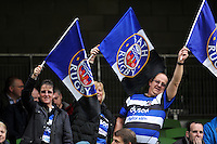 A general view of Bath Rugby supporters. European Rugby Champions Cup quarter final, between Leinster Rugby and Bath Rugby on April 4, 2015 at the Aviva Stadium in Dublin, Republic of Ireland. Photo by: Patrick Khachfe / Onside Images