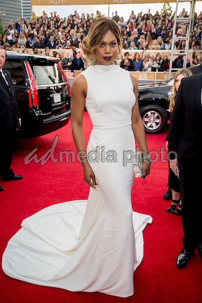 Actress Laverne Cox attends the 73rd Annual Golden Globes Awards at the Beverly Hilton in Beverly Hills, CA on Sunday, January 10, 2016. Photo Credit: HFPA/AdMedia