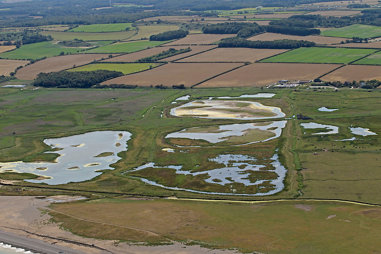 Aerial of Cley-next-the Sea Nature Reserve, Norfolk Wildlife Trust, summer, Norfolk UK