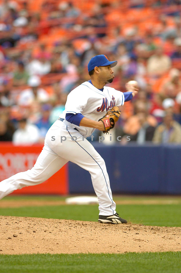 PEDRO FELCIANO of the New York Mets, in action during the  Mets game against the Colorado Rockies in New York, New York on April 25, 2007...Rockies  win 11-5...DAVID DUROCHIK / SPORTPICS..