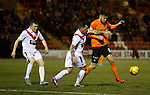 Scott Fraser goes down on the edge of the box giving Dundee Utd a free-kick from which they score