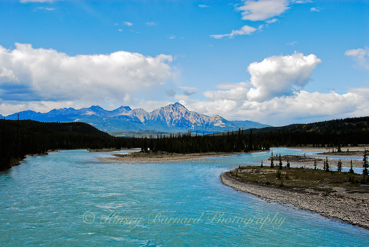 The beautiful Bow River in Jasper National Park Alberta Canada.