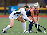 EASTON, MA - NOVEMBER 20:  Katelyn Grazan (28) battles for the ball with Kaycee Zelkovsky (24) of Shippensburg University of LIU Post during the NCAA Division II Field Hockey Championship at WB Mason Stadium on November 20, 2016 in Easton, Massachusetts.  Shippensburg University defeated LIU Post 2-1 for the national title. (Photo by Winslow Townson/NCAA Photos via Getty Images)