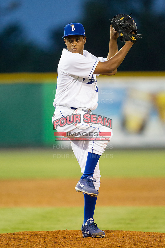 Burlington Royals relief pitcher Estarlin Cordero (57) in action against the Greeneville Astros at Burlington Athletic Park on June 30, 2014 in Burlington, North Carolina.  The Royals defeated the Astros 9-8. (Brian Westerholt/Four Seam Images)
