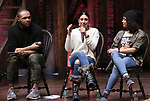 "Sean Green Jr., Lauren Boyd and Sasha Hollinger during the ""Hamilton"" eduHAM Student Matinee Q & A  at the Richard Rodgers Theatre on February 13, 2019 in New York City."