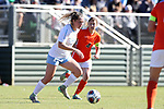 CARY, NC - NOVEMBER 19: North Carolina's Madison Schultz (1) and Princeton's Vanessa Gregoire (CAN) (4). The University of North Carolina Tar Heels hosted the Princeton University Tigers on November 19, 2017 at Koka Booth Stadium in Cary, NC in an NCAA Division I Women's Soccer Tournament Third Round game. Princeton won 2-1 in sudden death overtime.