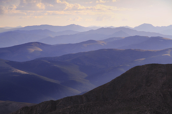 The Front Range mountains from the slopes of Mount Evans (14250 feet) in the Rocky Mountains west of Denver, Colorado, USA Guided photo tours and hiking tours to Mt Evans.