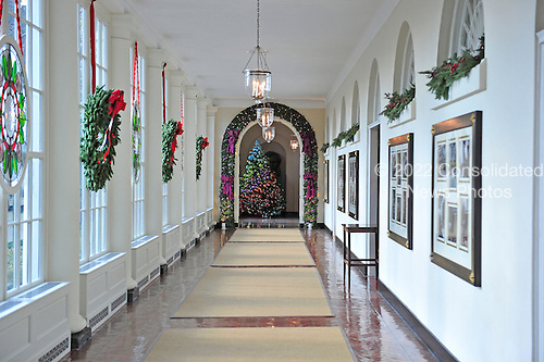 East visitor entrance hallway with wreaths in the windows that are part of the 2012 White House Christmas decorations in Washington, DC on Wednesday, November 28, 2012..Credit: Ron Sachs / CNP