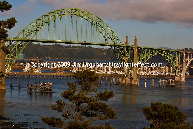 Pacific Coast Highway 101 crosses the Yaquina Bay Bridge near the Harbor of Newport in Newport, Oregon. Jim Urquhart/straylighteffect.com 7/23/09