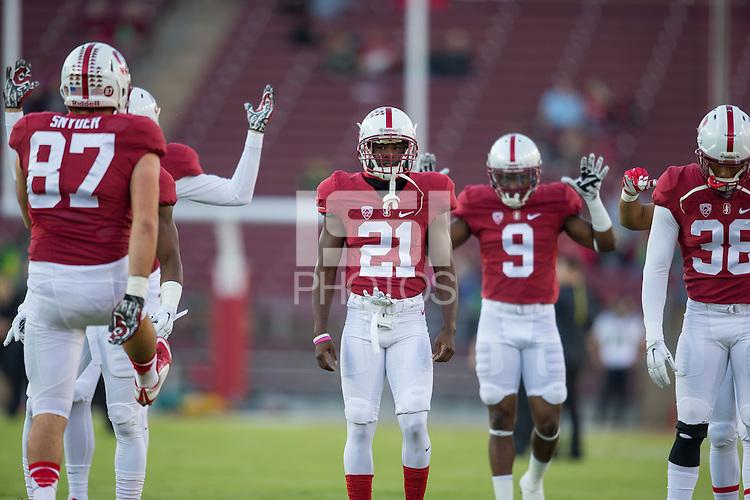 Stanford, CA - November 14, 2015: Stanford football vs Oregon. Final score Stanford 36, Oregon 38.