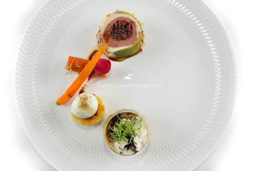 Melbourne, 30 May 2017 - The meat dish by Andrew Ballard of the Simmer Culinary in Mornington at the Australian selection trials of the Bocuse d'Or culinary competition held during the Food Service Australia show at the Royal Exhibition Building in Melbourne, Australia. Photo Sydney Low
