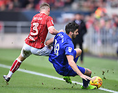 4th November 2017, Ashton Gate, Bristol, England; EFL Championship football, Bristol City versus Cardiff City; Joe Bryan of Bristol City tackles Callum Paterson of Cardiff City on the touch line