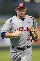 Auburn Tigers outfielder Cullen Wacker #3 against the LSU Tigers in the NCAA baseball game on March 22nd, 2013 at Alex Box Stadium in Baton Rouge, Louisiana. LSU defeated Auburn 9-4. (Andrew Woolley/Four Seam Images).
