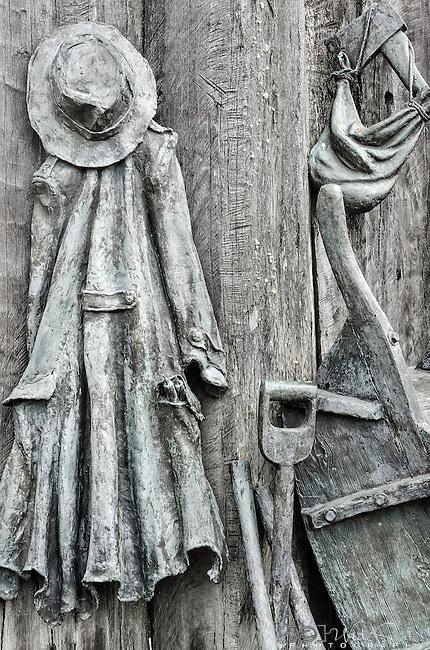 Wood carving in Queenstown in Tasmania, Australia