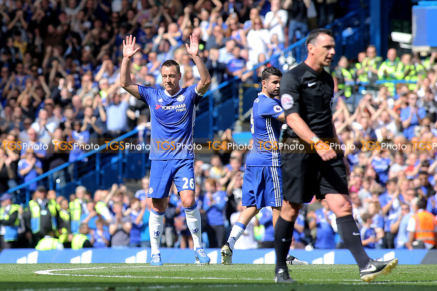 John Terry is substituted in the 26th minute and acknowledges the Chelsea fans as he leaves the pitch during Chelsea vs Sunderland AFC, Premier League Football at Stamford Bridge on 21st May 2017