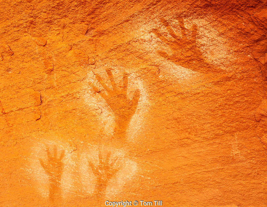 Handprint Pictographs, Ancient Puebloan Rock Paintings, Canyonlands National Park, Utah