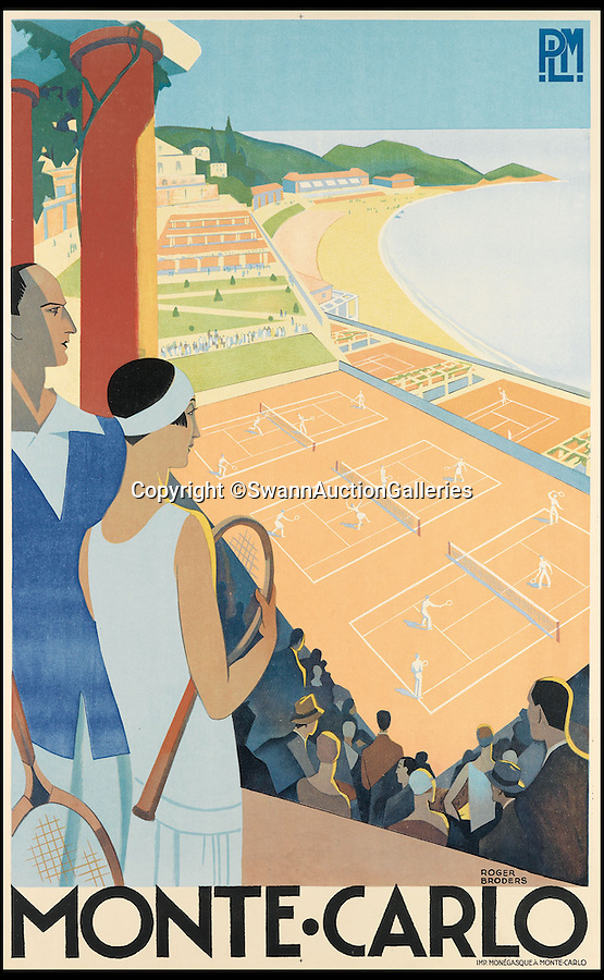 BNPS.co.uk (01202 558833)<br /> Pic: SwannAuctionGalleries/BNPS<br /> <br /> ***Please Use Full Byline***<br /> <br /> Monte-Carlo (1930), by Rodger Broders, estimated at $15,000 - $20,000. <br /> <br /> <br /> The world's largest collection of vintage tennis posters spanning a century of the sport has emerged for sale for a staggering 100,000 pounds.<br /> <br /> The posters date from the late 19th century and advertise everything from famous tennis tournaments to luxury holiday destinations and even cars.<br /> <br /> The earliest poster in the collection comes from 1896 and advertises the Western Lawn Tennis Tournament at the Kenwood Country Club in Chicago.<br /> <br /> The collection was compiled by an Australian poster enthusiast over several decades and is thought to be the largest ever to come to auction.<br /> <br /> The posters will be sold individually for prices ranging between 150 pounds to 12,000 pounds and are collectively tipped to fetch a whopping 100,000 pounds in the Swann Auction Galleries sale.