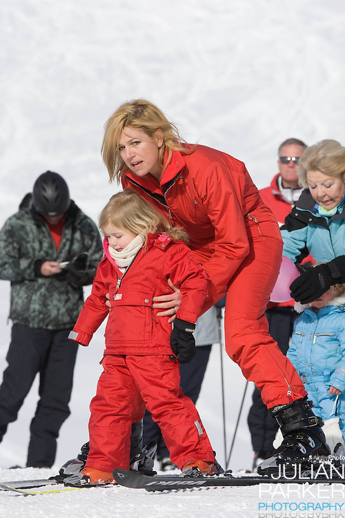 Crown Princess Maxima of Holland with her Daughter, Princess Alexia, attend a Photocall with Members of The Dutch Royal Family during their Winter Ski Holiday in Lech Austria
