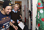 Lin-Manuel Miranda and Cate Blanchett during the cast of 'Hamilton' 2016 Door Decorating Competition at Richard Rodgers Theatre on December 23, 2016 in New York City.