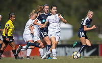 Sanford, FL - Saturday Oct. 14, 2017:  A Pride player plays the ball away from pressure during a US Soccer Girls' Development Academy match between Orlando Pride and NC Courage at Seminole Soccer Complex. The Courage defeated the Pride 3-1.