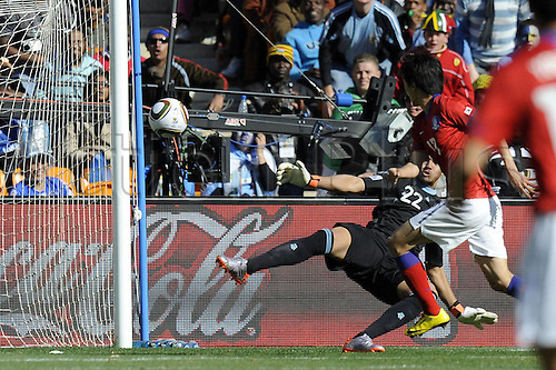 17 06 2010 Johannesburg South Africa  2010 World Cup Argentina versus South Korea. Photo shows the South Korean player Chung Yong Lee as he scored their only goal.. The game ended with Argentina winning 4-1.